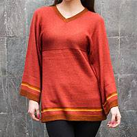 100% alpaca sweater, 'Andean Sunset' - Women's Knit 100% Alpaca Tunic Sweater in Light Red
