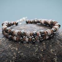 Ceramic beaded bracelet, 'Huaylas' - Andean Artisan Crafted Bracelet of Brown Ceramic Beads
