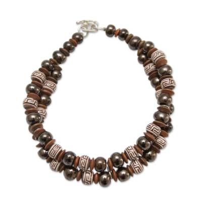 Andean Artisan Crafted Bracelet of Brown Ceramic Beads