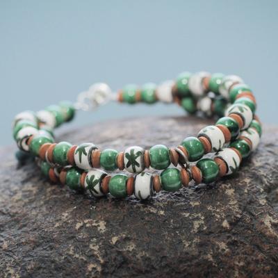 Ceramic beaded bracelet, 'Lachay' - Andean Artisan Crafted Ceramic Bead Bracelet