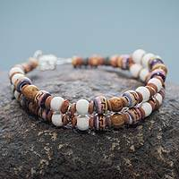 Ceramic beaded bracelet, 'Winds of Peace' - Pre-Hispanic Theme Artisan Crafted Ceramic Bead Bracelet