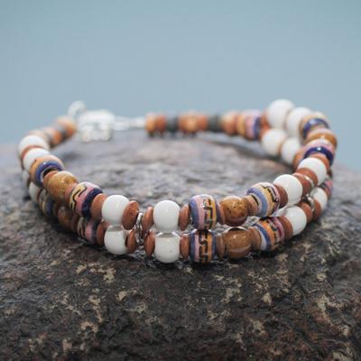 Ceramic beaded bracelet, 'Winds of Peace' - Pre-Hispanic Theme Artisan Crafted Ceramic Bead Bracelet