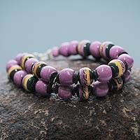 Ceramic beaded bracelet, 'Amazon Orchid' - Handcrafted Purple Ceramic Double Strand Bracelet