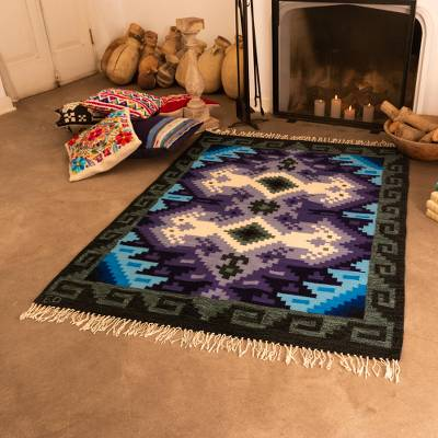 Wool rug, 'Sea and Sky' (4x5.5) - Handwoven Geometric Area Rug from Peru (4 x 5.5)