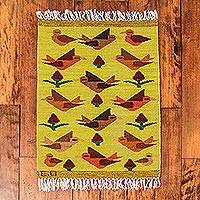 Wool rug, 'Birds on the Wing' (2x3)