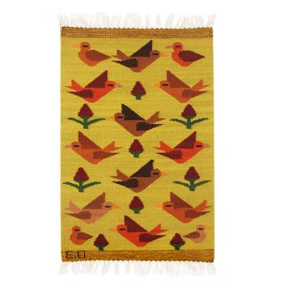 Wool rug, 'Birds on the Wing' (2x3) - Peruvian Handwoven Yellow Wool Rug with Birds