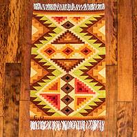 Wool rug, 'Splendid Inca' (2x3) - Yellow Geometric Handwoven Andean Wool Rug (2 x 3)