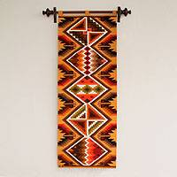 Wool tapestry, 'Warm Symmetry' - Geometric Handwoven Inca Wool Tapestry