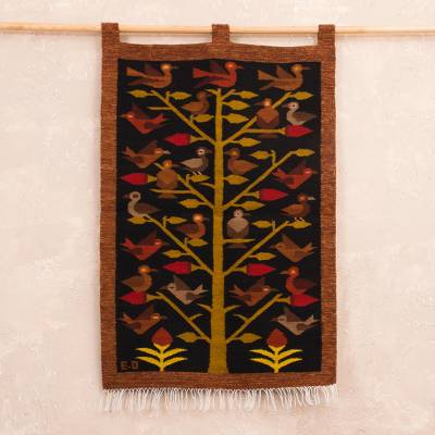 Wool tapestry, 'Wildlife' - Handmade Orange and Black Andean Wool Tapestry