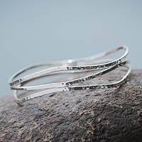 Sterling silver bangle bracelet, 'To Flow' - Modern Andean Sterling Silver Bangle Bracelet