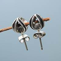 Sterling silver button earrings, 'Natura' - Hand Crafted Sterling Silver Button Earrings