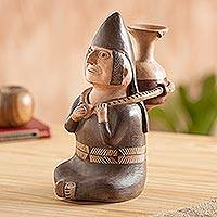 Ceramic figurine, 'Andean Water Carrier' - Hand Crafted Museum Replica Moche Ceramic Figurine