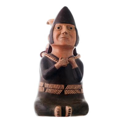 Ceramic figurine, 'Andean Water Carrier' - Hand Crafted Museum Replica Moche Ceramic Figurine