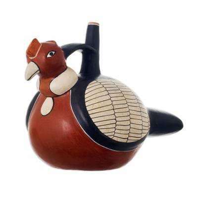 Ceramic decorative vessel, 'Nazca Condor' - Hand Crafted Museum Replica Moche Ceramic Vessel