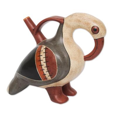 Ceramic decorative vessel, 'Nazca Cormorant' - Museum Replica Bird Theme Ceramic Vessel from Peru