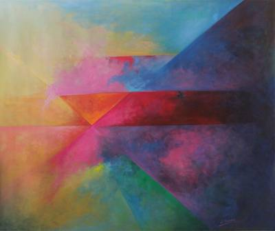 'Geometries in the Cosmos' - Multi coloured Abstract Geometry Painting Oil On Canvas