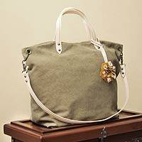 Cotton and leather accent shoulder bag, 'Andean Florette on Khaki' - Fair Trade Cotton With Leather Accent Shoulder Bag