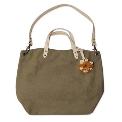 c00eaaab56be7 Cotton and leather accent shoulder bag