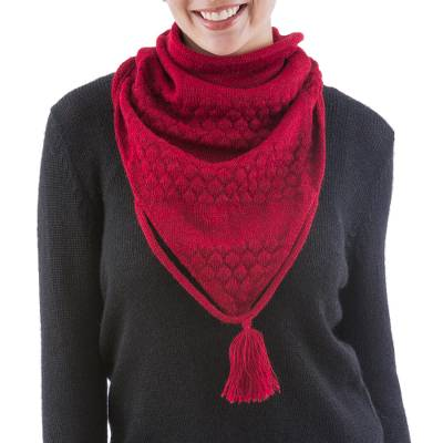 100% alpaca neck warmer, 'Scarlet Warmth' - Handcrafted Red Baby Alpaca Neck Warmer from Peru
