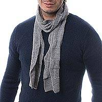 Men's 100% alpaca scarf, 'Grey Chessboard' - Men's Grey Baby Alpaca Knitted Scarf from Peru