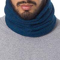 Men's 100% alpaca neck warmer, 'Teal Blue Chessboard' - Men's Baby Alpaca Knitted Neck Warmer or Hat in Teal Blue