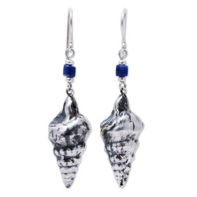 Sterling silver and sodalite dangle earrings, 'Marine Memoirs' - Sterling Silver Shell Design Hook Earrings with Sodalite