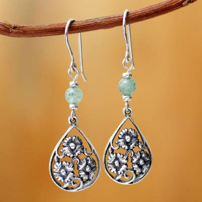 Sterling silver and aventurine flower earrings, Dewdrop Blooms