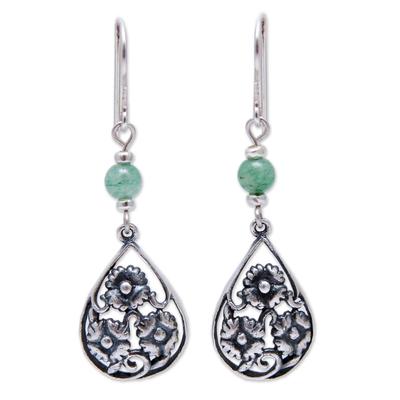 Sterling silver and aventurine flower earrings, 'Dewdrop Blooms' - Sterling Silver Earrings With Aventurine Peru Flower Jewelry