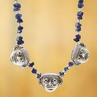 Sodalite pendant necklace, 'Moche Masks' - Sodalite Hand Crafted Necklace With Sterling Silver Masks