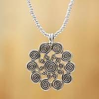 Sterling silver pendant necklace, 'Sun Allegory' - Peruvian Handcrafted Jewelry Sterling Silver Beaded Necklace
