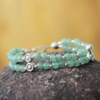 Aventurine beaded bracelet, 'Luck by Chance' - Artisan Crafted Aventurine Beaded Bracelet With Silver