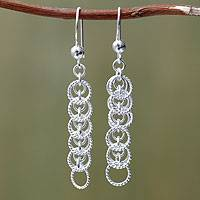 Sterling silver dangle earrings, 'State of Transformation' - Artisan Crafted Peruvian Sterling Silver Hook Earrings