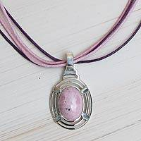 Rhodonite pendant necklace, 'Of Love and Well Being' - Natural Rhodonite Pendant on Handcrafted Cotton Necklace