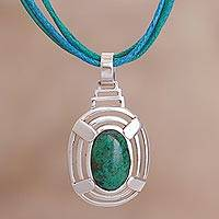 Chrysocolla pendant necklace, 'Of Peace and Wisdom' - Blue-Green Chrysocolla Set In Andean Silver