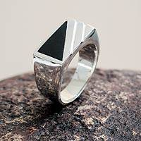 Men's onyx signet ring, 'Night Shadow' - Modern Men's Onyx Ring Crafted of Andean 925 Silver
