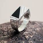 Modern Men's Onyx Ring Crafted of Andean 925 Silver, 'Night Shadow'