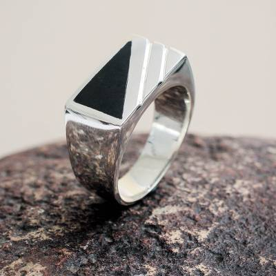 Men's onyx signet ring, 'Night Shadow' - Modern Men's Onyx Ring Crafted of Andean 950 Silver