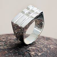 Silver men's ring, 'Vanguard' - Modern Men's Fine Silver Signet Ring with Cubic Zirconia