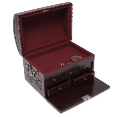 Leather and mohena wood jewelry box, 'Secrets' - Artisan Crafted Tooled Leather Mohena Locking Jewelry Chest