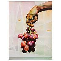'Seizing the Cluster' (2014) - Realistic Oil Painting of Grapes and a Human Hand