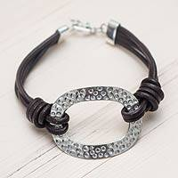 Sterling silver and leather cord bracelet, 'Brown Sky Window'