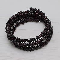 Garnet wrap bracelet, 'Andean Scarlet' - Peruvian Artisan Crafted Spiral Garnet Bracelet