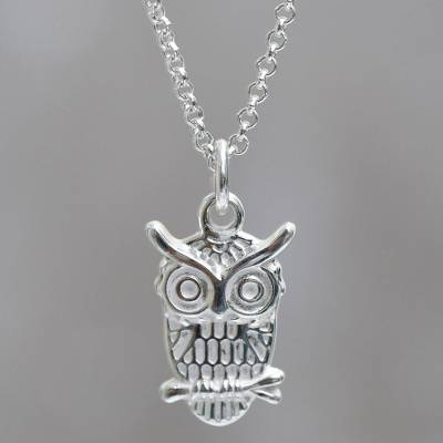Sterling silver pendant necklace, 'Juku Huchuy' - Andean Sterling Silver Owl Pendant on Chain Necklace
