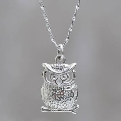 Andean silver owl pendant on sterling silver chain necklace juku sterling silver pendant necklace juku kurax andean silver owl pendant on sterling mozeypictures Image collections