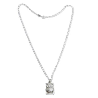 Sterling silver pendant necklace, 'Juku Kurax' - Andean Sterling Silver Owl Pendant Necklace