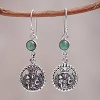 Sterling silver and opal dangle earrings, 'Inca Star Walker' - Peruvian Jewelry Sterling Silver Hook Earrings with Opals