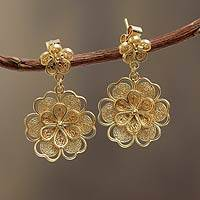 Gold plated filigree flower earrings, 'Yellow Rose' - Gold Plated Hanging Floral Earrings