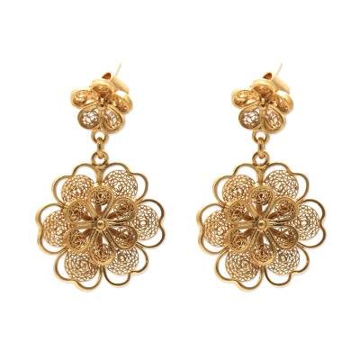 Gold plated filigree flower earrings, 'Yellow Rose' - Gold Plated Filigree Handmade Flower Dangle Earrings