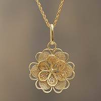 Gold plated filigree flower necklace, 'Yellow Rose'