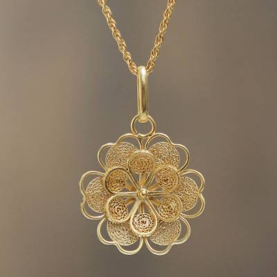 Gold Plated Silver Peruvian Filigree Flower Necklace Yellow Rose